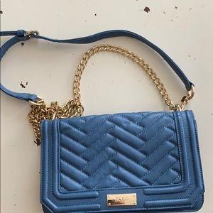 BCBG blue crossbody bag with gold chain
